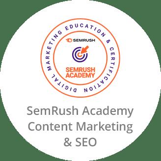 SemRush Academy Certificate in Content Marketing & SEO